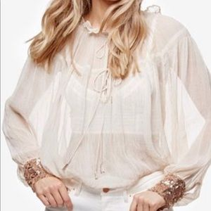 Free People sheer blouse w/ rose gold sequin cuffs